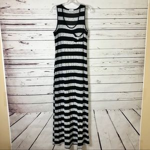 Bar III Striped Stretch Sleeveless Maxi Dress XL